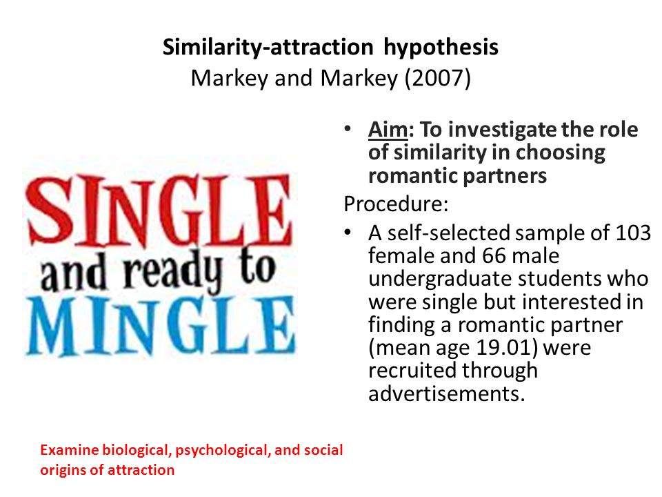 Similarity-attraction hypothesis Markey and Markey (2007)