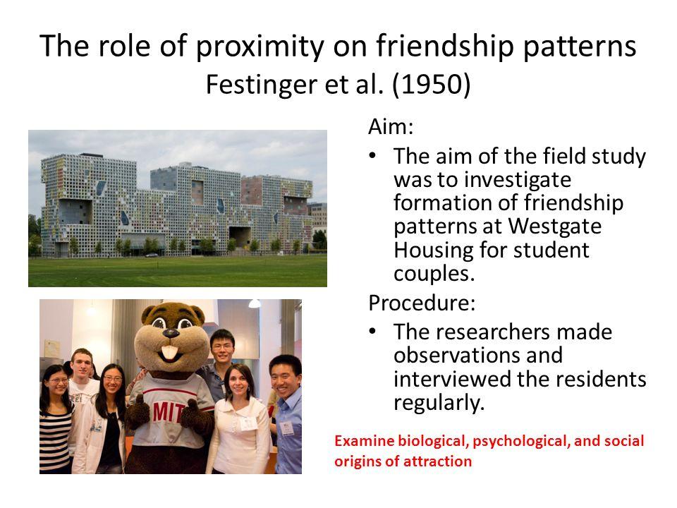 The role of proximity on friendship patterns Festinger et al. (1950)