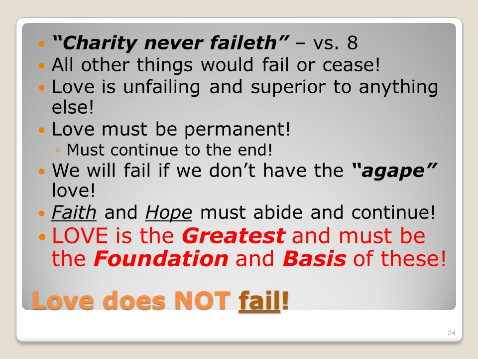 Charity never faileth – vs. 8