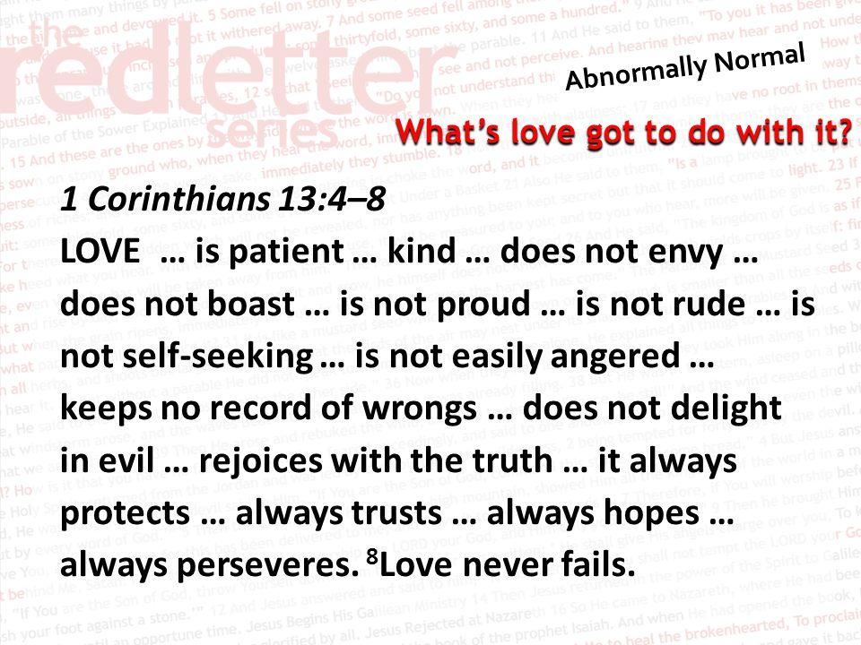 1 Corinthians 13:4–8