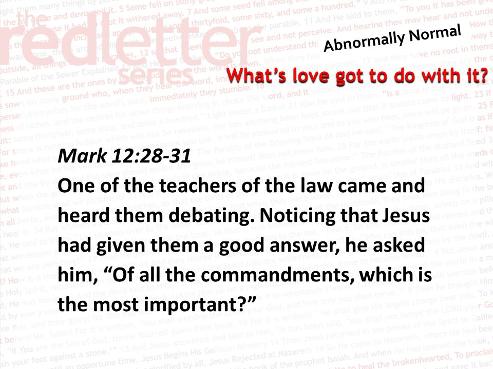 Mark 12:28-31
