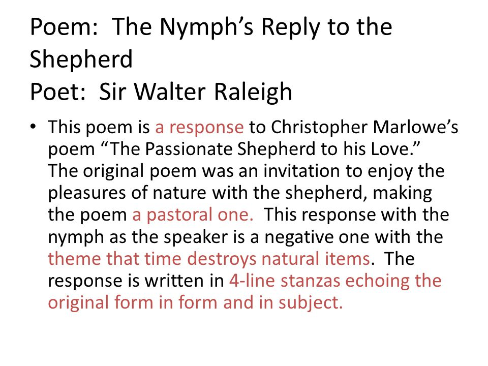 Poem: The Nymph's Reply to the Shepherd Poet: Sir Walter Raleigh