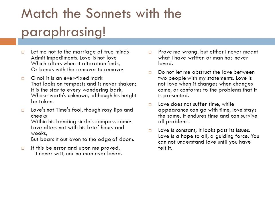 Match the Sonnets with the paraphrasing!