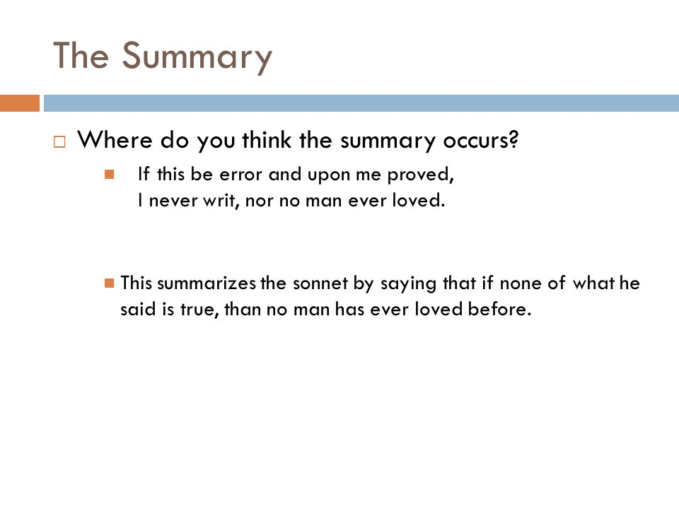 The Summary Where do you think the summary occurs