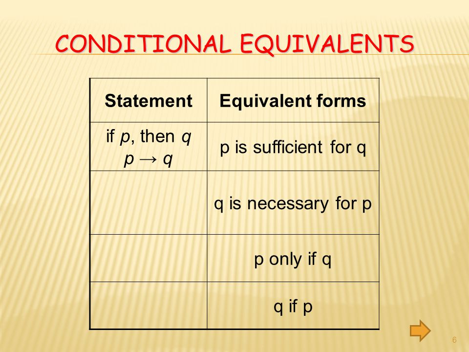 Conditional Equivalents