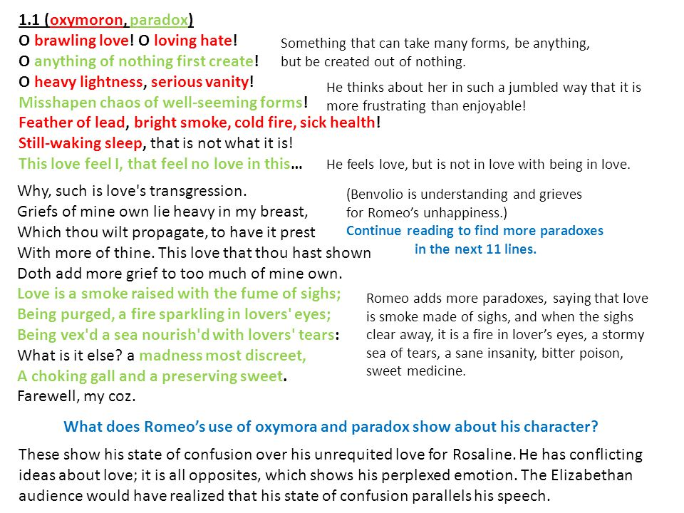 What does Romeo's use of oxymora and paradox show about his character