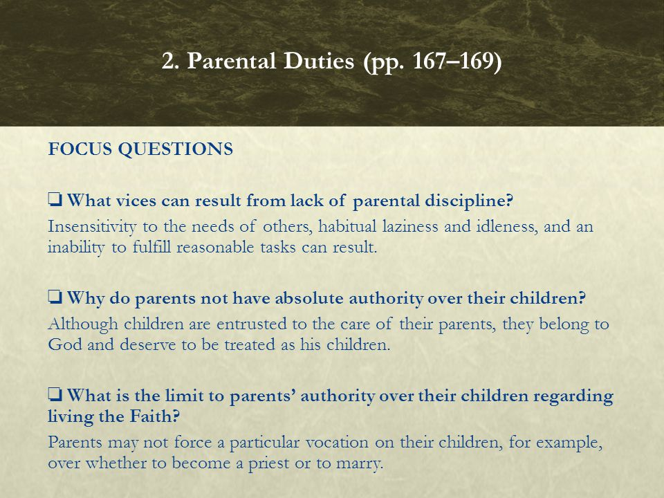 2. Parental Duties (pp. 167–169)