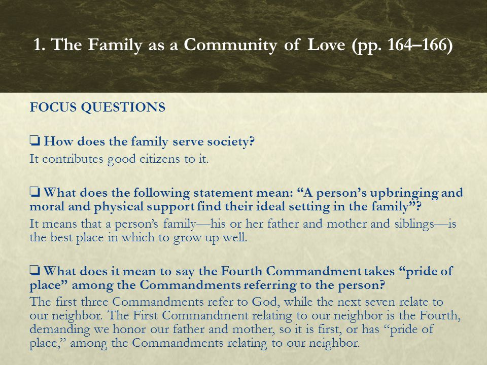 1. The Family as a Community of Love (pp. 164–166)