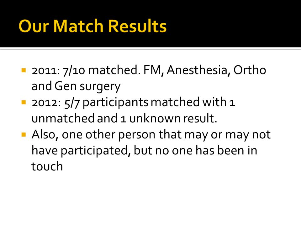 Our Match Results 2011: 7/10 matched. FM, Anesthesia, Ortho and Gen surgery. 2012: 5/7 participants matched with 1 unmatched and 1 unknown result.