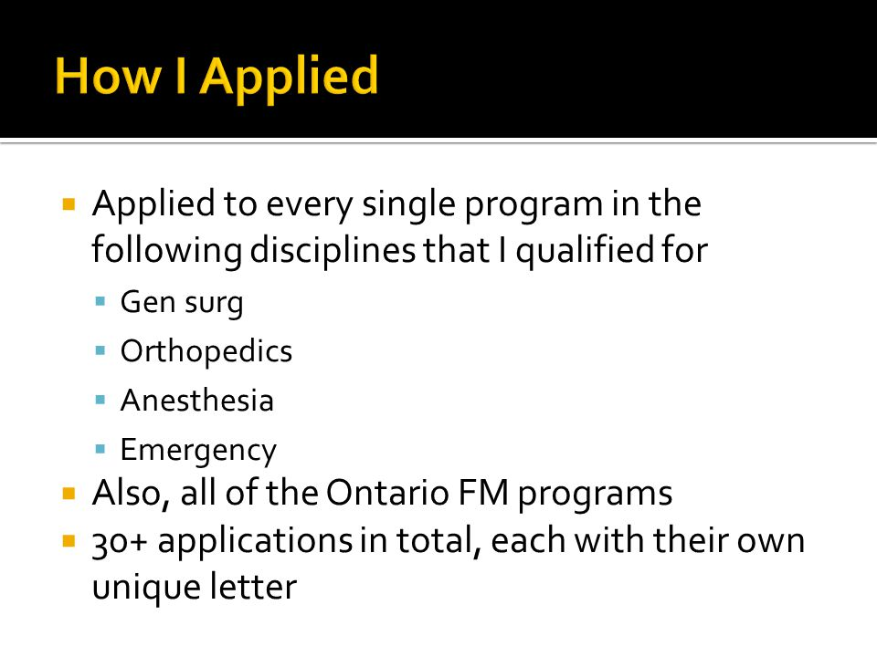 How I Applied Applied to every single program in the following disciplines that I qualified for. Gen surg.