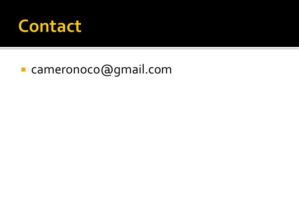 Contact cameronoco@gmail.com