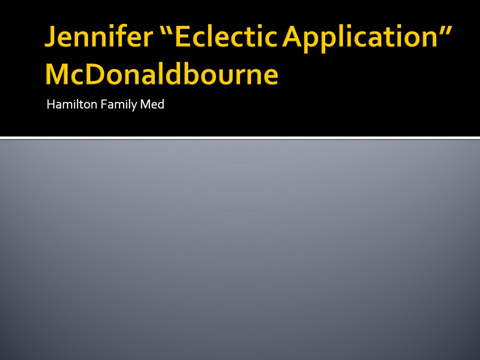 Jennifer Eclectic Application McDonaldbourne