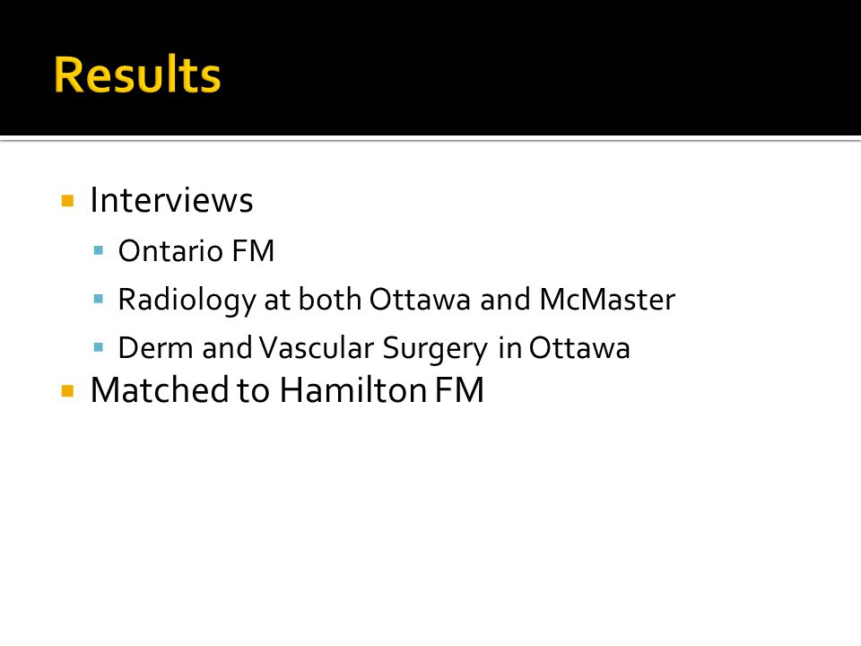 Results Interviews Matched to Hamilton FM Ontario FM
