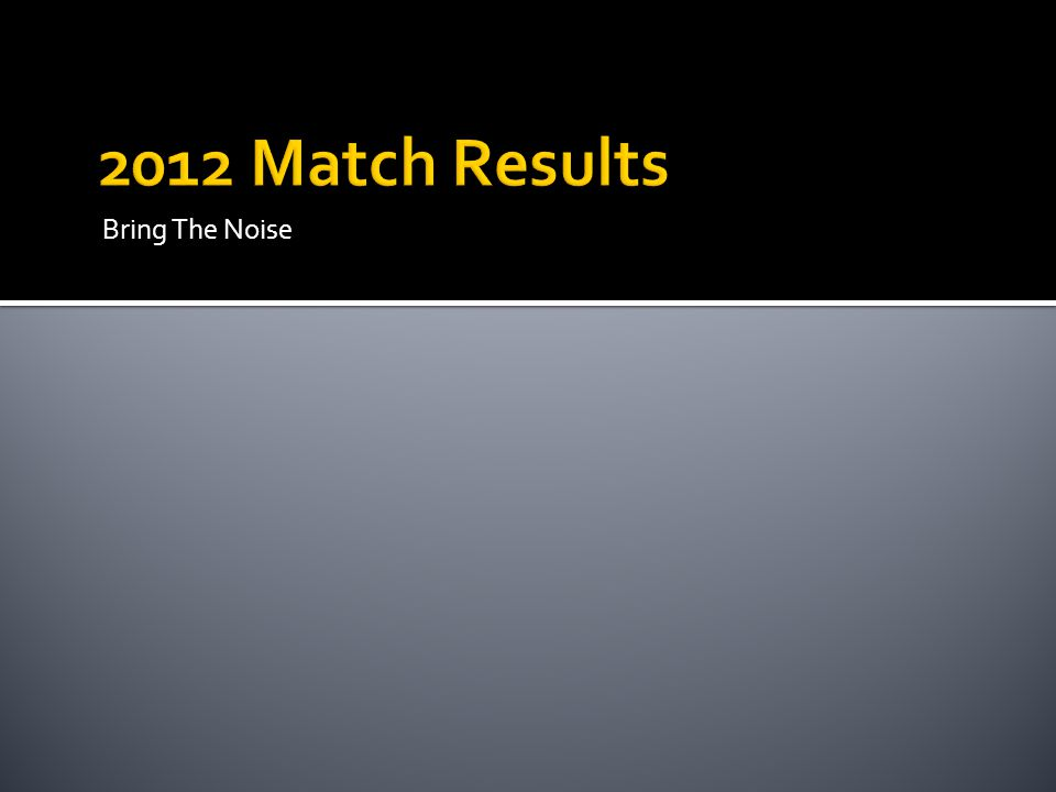 2012 Match Results Bring The Noise