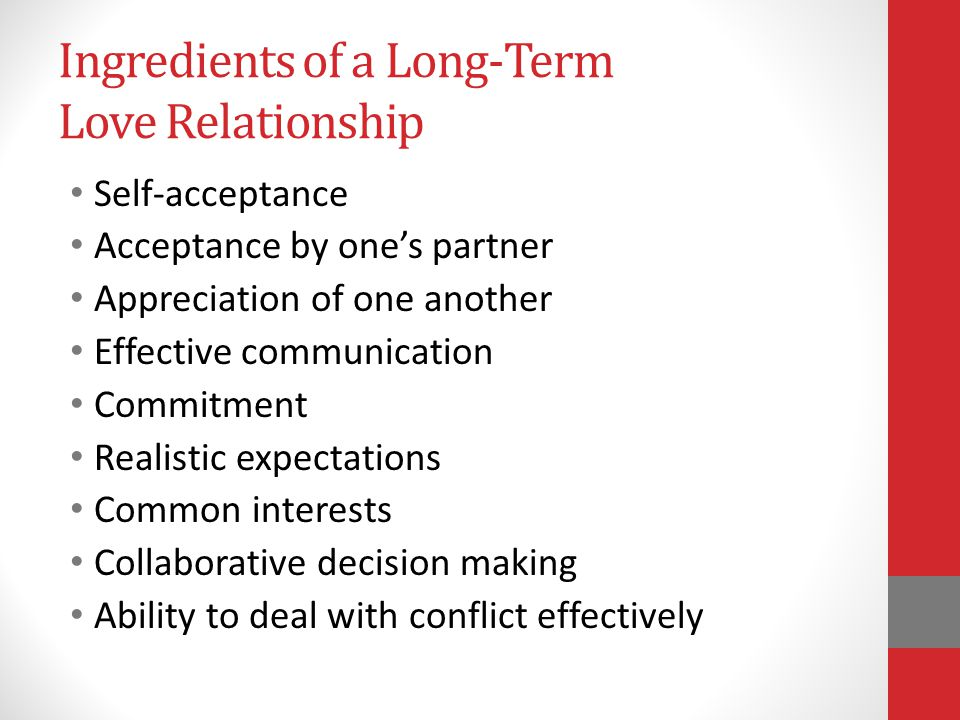 Ingredients of a Long-Term Love Relationship