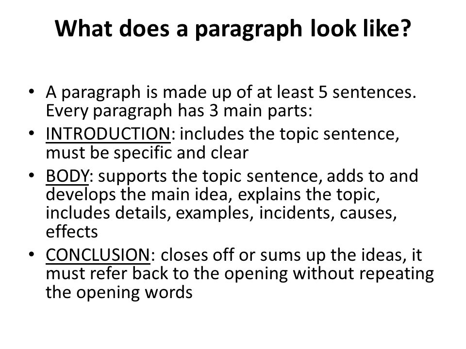 What does a paragraph look like