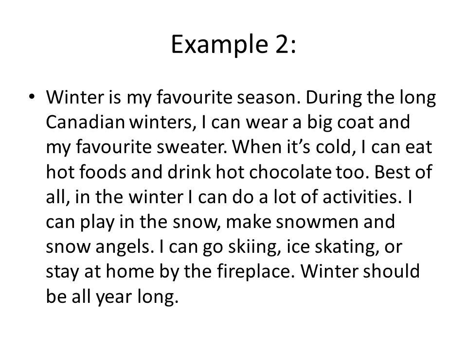 how to write a really great paragraph ppt video online  6 example 2 winter is my favourite season