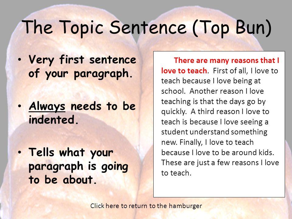 The Topic Sentence (Top Bun)