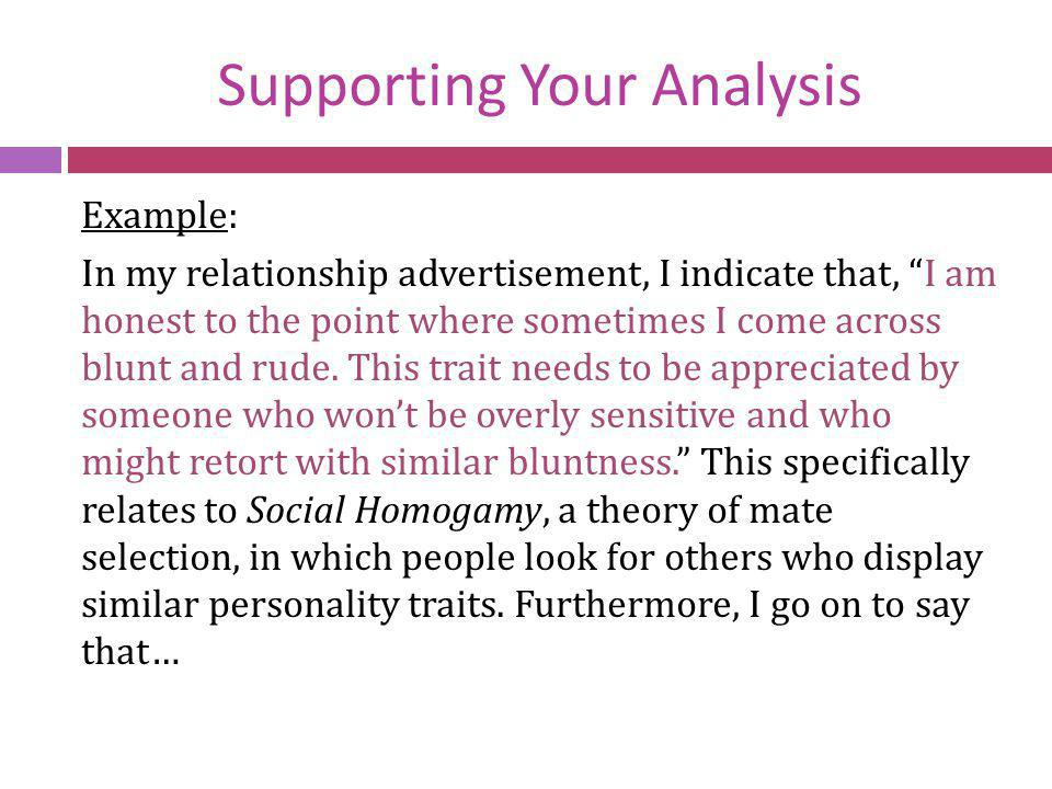 Supporting Your Analysis
