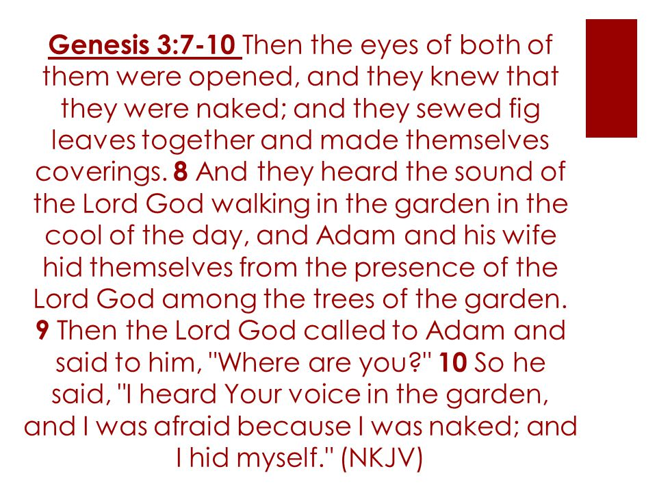 Genesis 3:7-10 Then the eyes of both of them were opened, and they knew that they were naked; and they sewed fig leaves together and made themselves coverings.