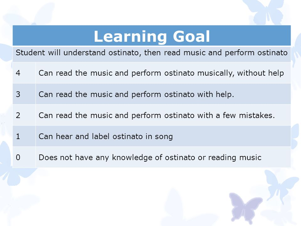 Student will understand ostinato, then read music and perform ostinato