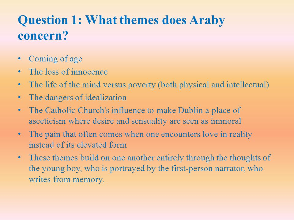 Question 1: What themes does Araby concern