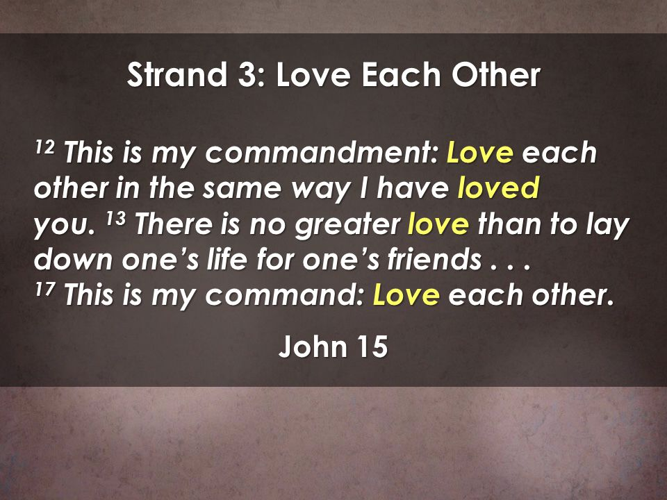 Strand 3: Love Each Other