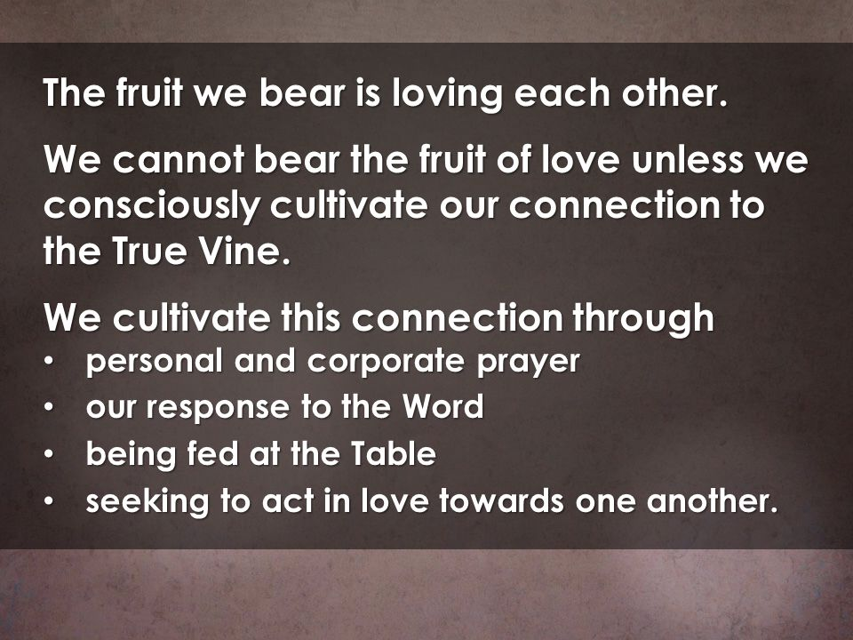 The fruit we bear is loving each other.