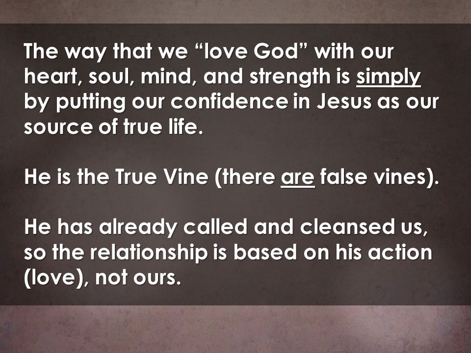 The way that we love God with our heart, soul, mind, and strength is simply by putting our confidence in Jesus as our source of true life.