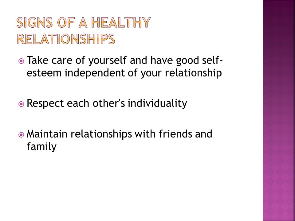 Signs of a healthy relationships