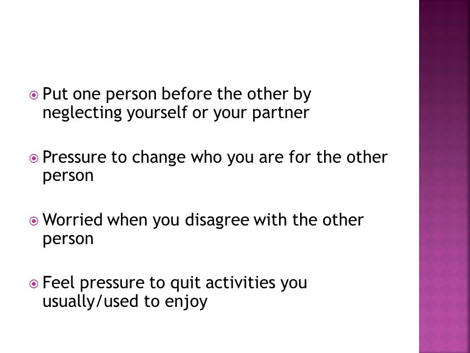 Put one person before the other by neglecting yourself or your partner