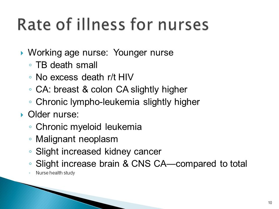 Rate of illness for nurses