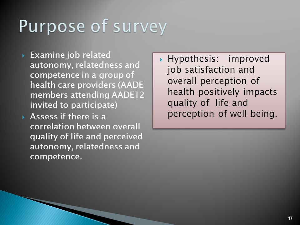 Purpose of survey