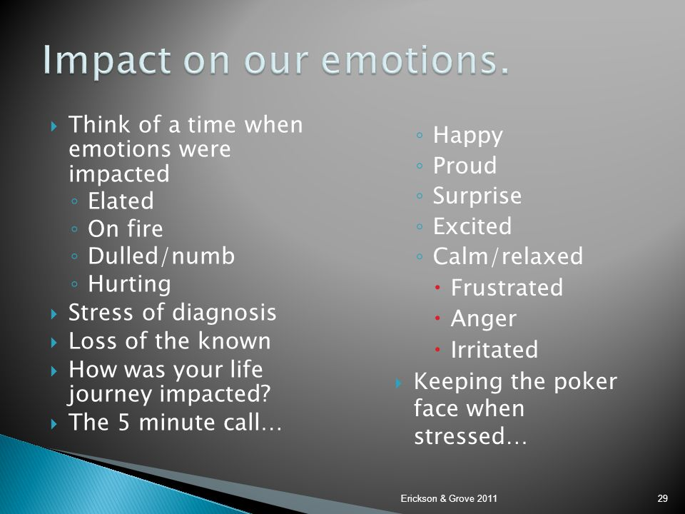 Impact on our emotions. Think of a time when emotions were impacted