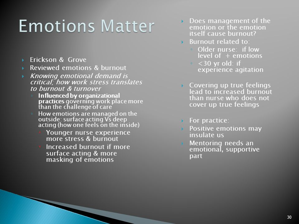 Emotions Matter Does management of the emotion or the emotion itself cause burnout Burnout related to: