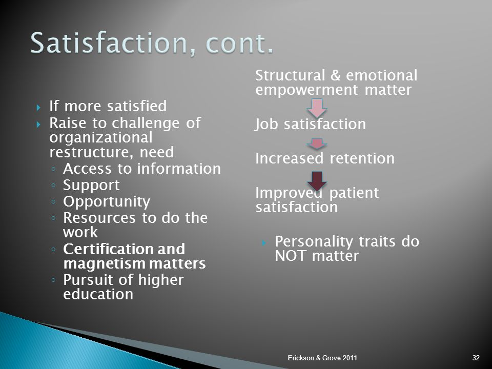 Satisfaction, cont. Structural & emotional empowerment matter