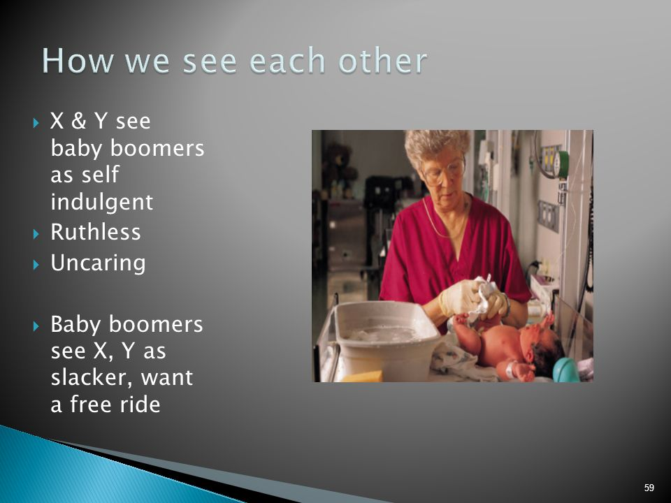 How we see each other X & Y see baby boomers as self indulgent