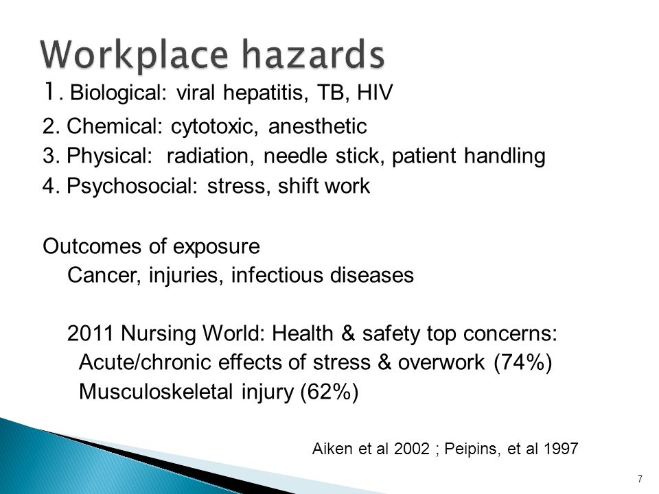 Workplace hazards 1. Biological: viral hepatitis, TB, HIV