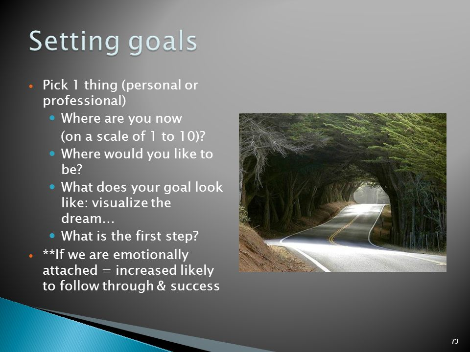 Setting goals Pick 1 thing (personal or professional)