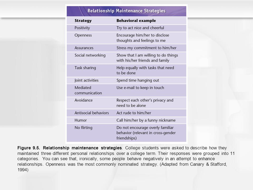 Figure 9. 5. Relationship maintenance strategies