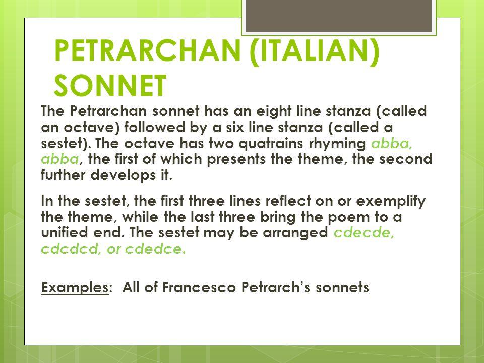 PETRARCHAN (ITALIAN) SONNET