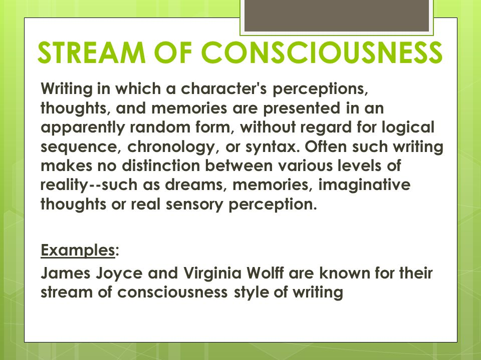 Stream of consciousness technique in james