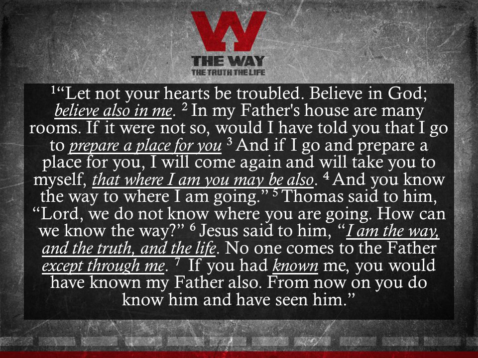 1 Let not your hearts be troubled. Believe in God; believe also in me