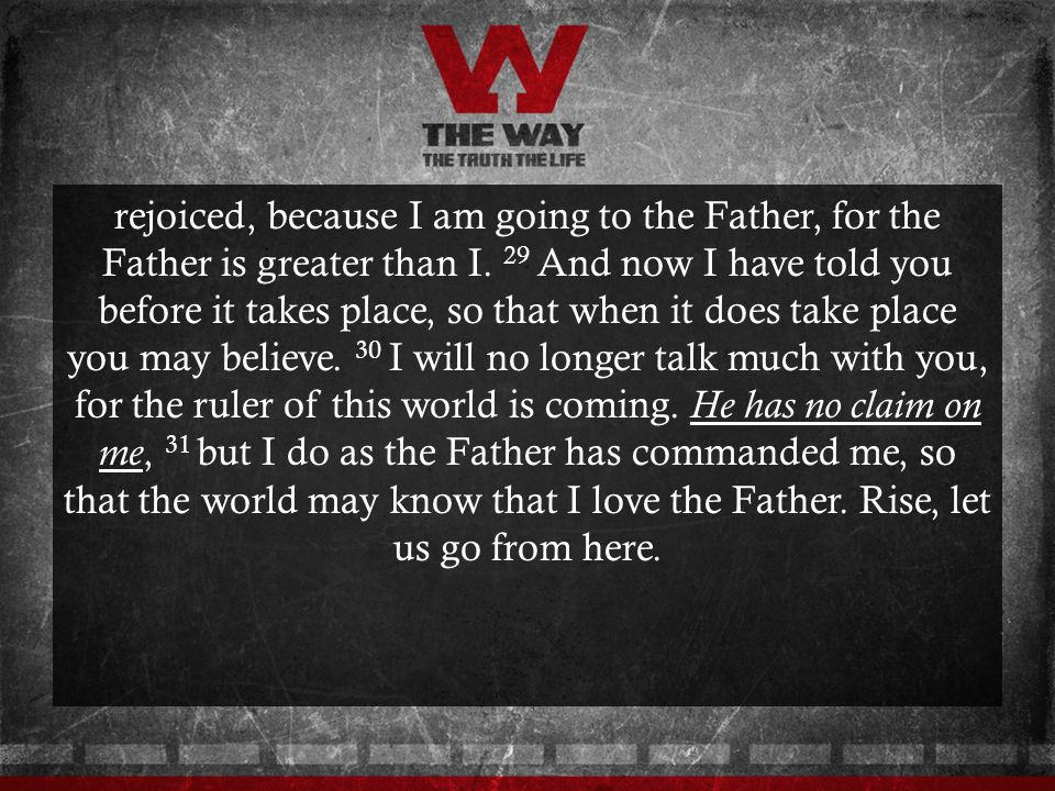 rejoiced, because I am going to the Father, for the Father is greater than I.