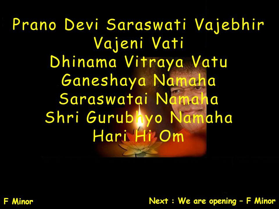 Prano Devi Saraswati Vajebhir Vajeni Vati Dhinama Vitraya Vatu Ganeshaya Namaha Saraswatai Namaha Shri Gurubhyo Namaha Hari Hi Om