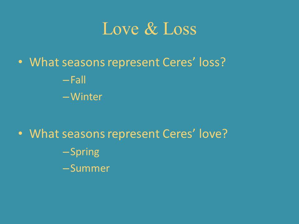 Love & Loss What seasons represent Ceres' loss