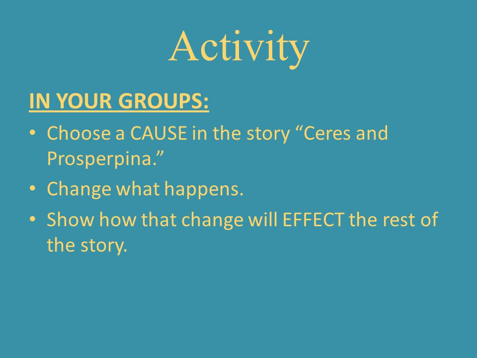 Activity IN YOUR GROUPS:
