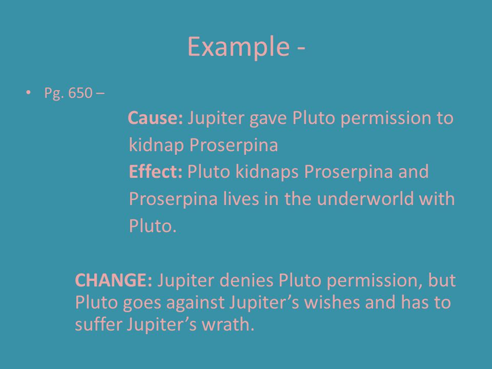 Example - kidnap Proserpina Effect: Pluto kidnaps Proserpina and