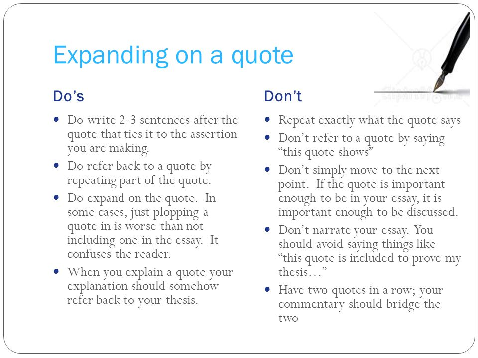 Expanding on a quote Do's Don't
