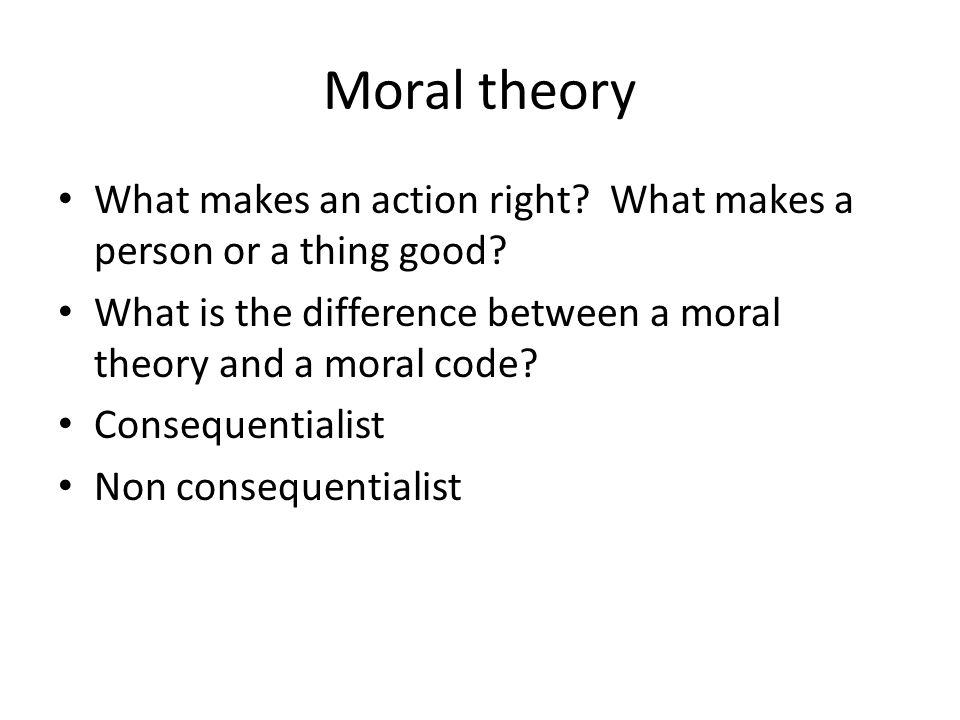 Moral theory What makes an action right What makes a person or a thing good What is the difference between a moral theory and a moral code